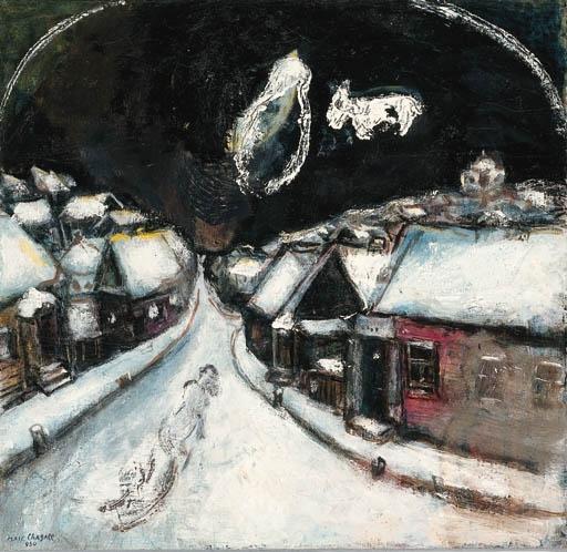 Artwork by Marc Chagall, Le village enneigé (esquisse pour Le rabbin dans le ciel )