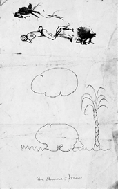 Edward Burne-Jones, Sketch of a wombat and subsidiary figure studies( recto ); and Studies of buildings and a female caricature ( verso )
