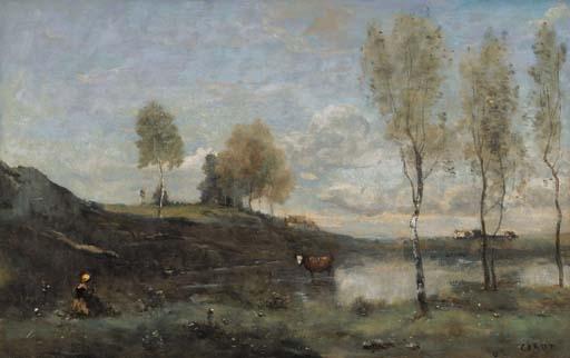 Artwork by Jean Baptiste Camille Corot, Souvenir des Marais de Bove, près Amiens, Made of oil on canvas