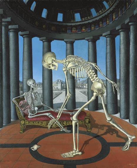 Paul delvaux le squelette la coquille for Paul delvaux le miroir