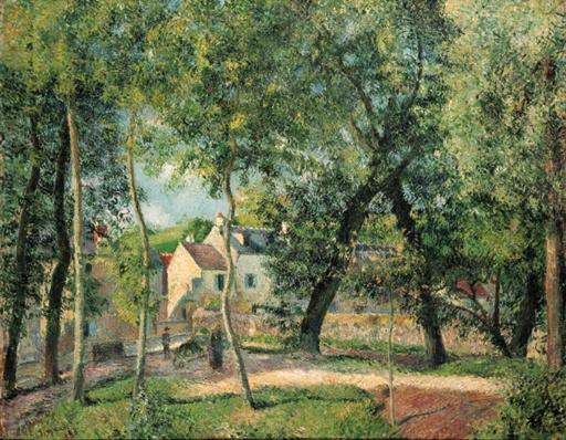 Artwork by Camille Pissarro, Paysage à Osny près de l'abreuvoir