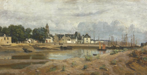 Artwork by Jean Baptiste Camille Corot, Un port de mer en Bretagne, Made of oil on panel