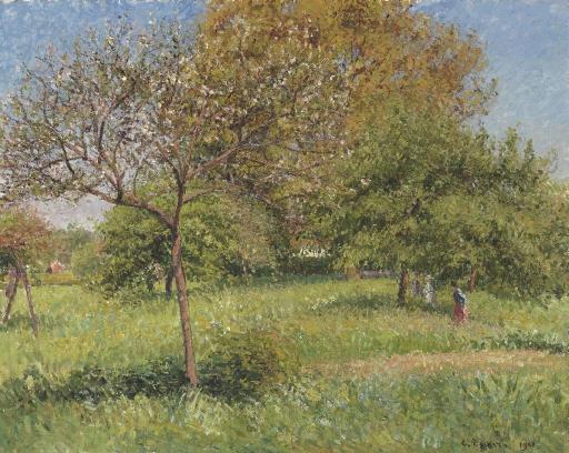 Artwork by Camille Pissarro, Le grand noyer, matin, Eragny