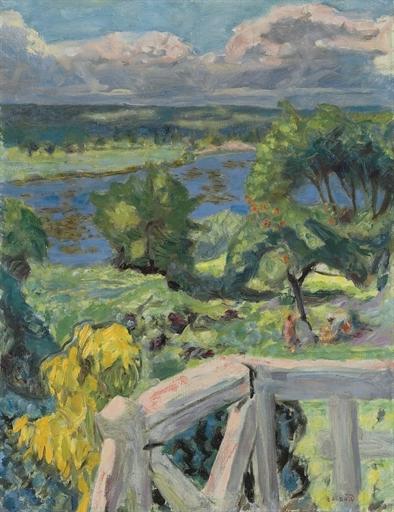 Artwork by Pierre Bonnard, Coup de soleil (La terrasse de 'Ma roulotte' à Vernonnet), Made of oil on canvas