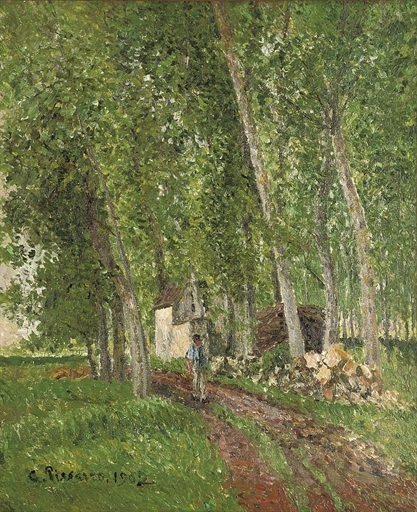Artwork by Camille Pissarro, Sous-bois à Moret, Made of oil on canvas