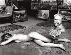 Artwork by Jean-Loup Sieff, Nude Pompier (Pretentious Nude), Made of Silver drawing mounted on cardboard