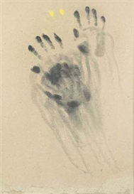 Artwork by Claudio Parmiggiani, SANS TITRE, Made of Imprints of hands, pigmetns on paper