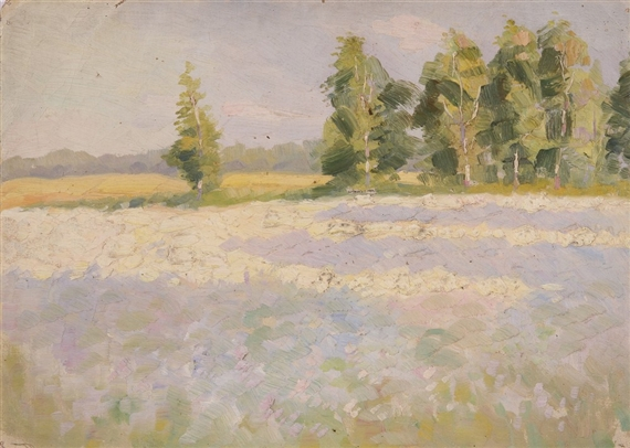 Fechin nicolai summer trees in a field mutualart for Nicolai fechin paintings for sale