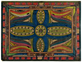 Artwork by Adolf Wölfli, Erklärung: Hiesiges Bild ist, das Kardu-Skt. Adolf-Kreutz, Made of Color chalks and pencil