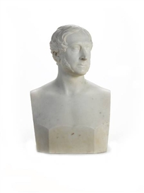 Artwork by Hiram Powers, A white marble bust of a Gentleman