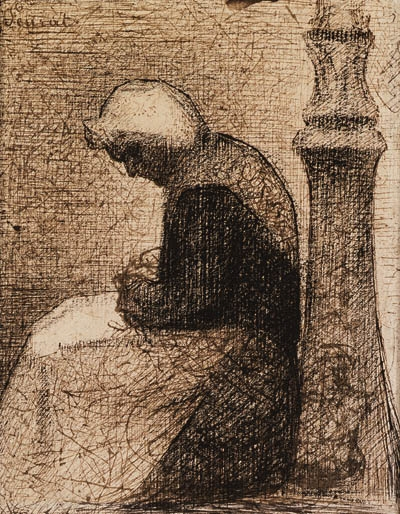 Artwork by Georges Seurat, Assise prs d'un rverbre (Woman seated near a Streetlamp)