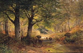 A FAGGOT GATHERER IN A WOODED RIVER LANDSCAPE By Alois Arnegger