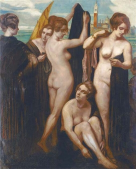 Bathers in the lagoon, Venice By Emile Bernard