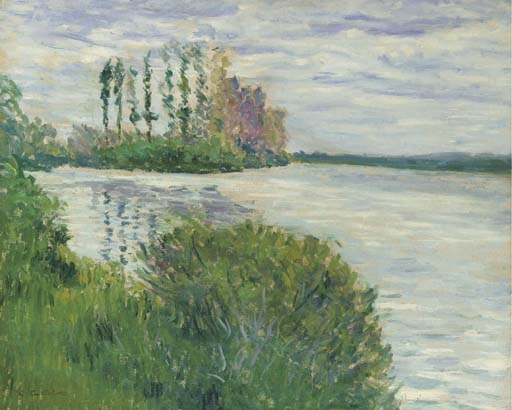 Artwork by Gustave Caillebotte, La Seine et la pointe de l'Ile Marande, Made of oil on canvas