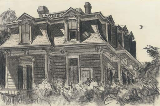 Artwork by Edward Hopper, Home by the Railroad, Made of charcoal on paper