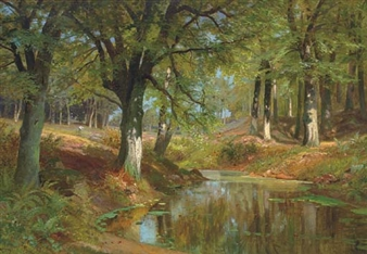 A figure by a woodland pool By Alois Arnegger