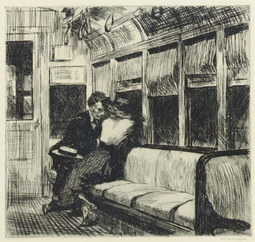 Artwork by Edward Hopper, Night on the El Train (Zigrosser 21; Levin 56), Made of etching and drypoint
