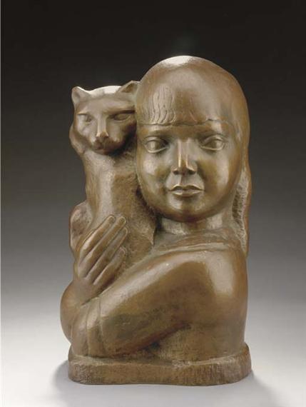 Zorach William Child With Cat 1927 Mutualart