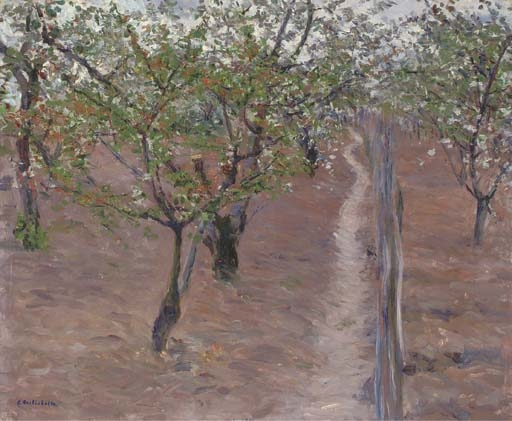 Artwork by Gustave Caillebotte, Verger, arbres en fleurs, Petit Gennevilliers, Made of oil on canvas