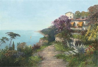 A villa on the coast of Capri By Alois Arnegger