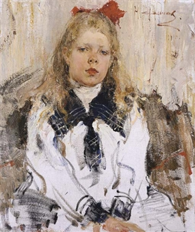 Nicolai fechin girl with red bow 1910 oil on for Nicolai fechin paintings for sale