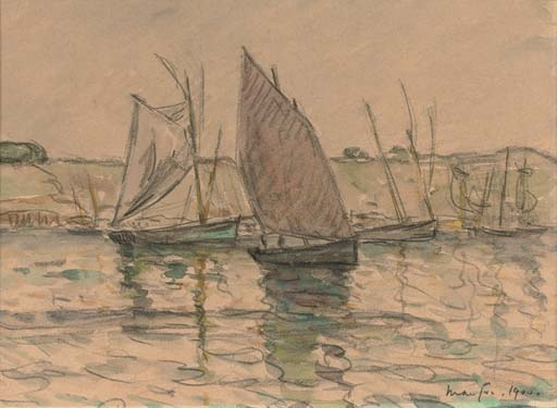 Artwork by Maxime Maufra, Dans le port, Concarneau, Made of charcoal and watercolour on paper