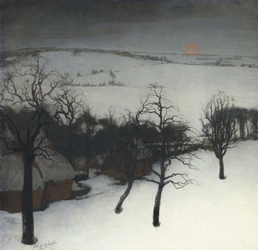 Artwork by Valerius de Saedeleer, Paysage d'Hiver - Winter landscape, Made of oil on canvas