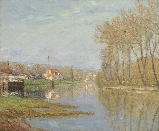 Artwork by Maxime Maufra, Soleil du mars, Port-Marly, Made of oil on canvas