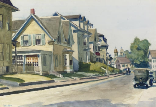 Artwork by Edward Hopper, Prospect Street, Gloucester, Made of watercolor on paper laid down on board