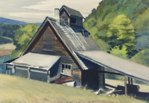 Artwork by Edward Hopper, Vermont Sugar House, Made of watercolor on paper