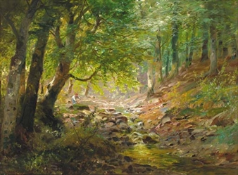 A figure by a stream in a sunlit wooded landscape By Alois Arnegger