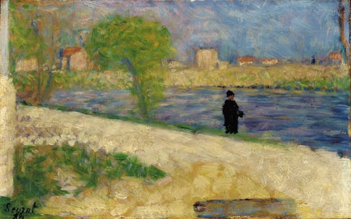 Artwork by Georges Seurat, Etude dans l'Ile, Made of oil on cradled panel