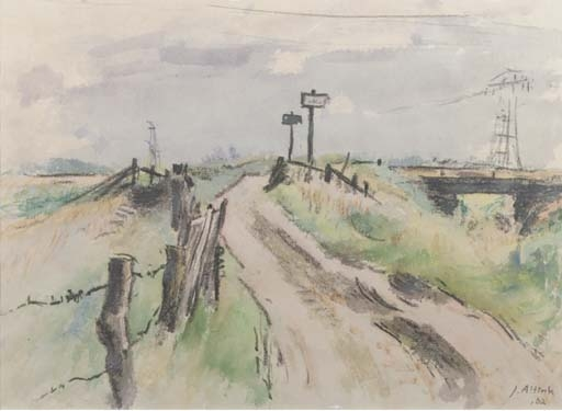 Altink Jan | A country road with electricity poles in the distance