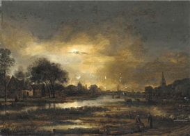 Aert van der Neer, A moonlit landscape with two peasants conversing near a lake in the foreground
