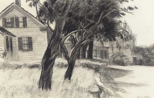 Artwork by Edward Hopper, House and Trees, Gloucester, Made of charcoal on paper