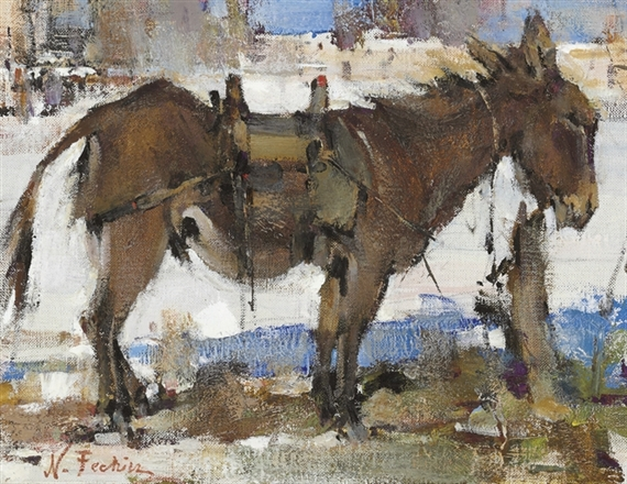 Nicolai fechin burro tethered oil on canvas for Nicolai fechin paintings for sale