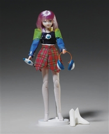 Artwork by Mariko Mori, Star Doll, Made of comprised of doll with blue hair, stand, and original accessories