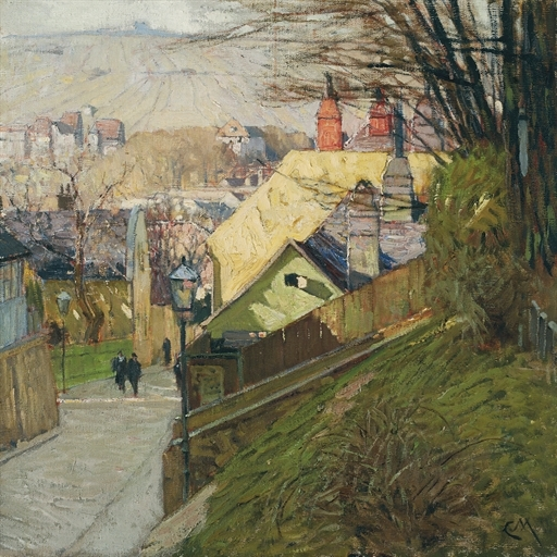 Artwork by Carl Moll, Das Haus der Therese Krones in Döbling in Wien, Made of oil on canvas