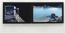 Artwork by Bill Viola, Study for the Voyage, Made of color video diptych on two lcd flat panels