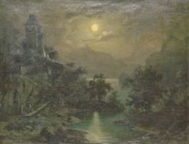 Artwork by Carl Gustav Carus, (Zugeschrieben) Seelandschaft im Mondschein, Made of oil on canvas
