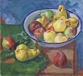 Artwork by Paul Paeschke, Birnen und Äpfel, Made of oil on canvas