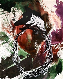 Artwork by Hans Peter Adamski, Wolf, Made of Mixed media on canvas
