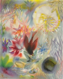 Artwork by Georg Muche, Blumen und Vogel, Made of Oil on canvas