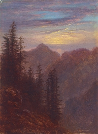 Artwork by Carl Gustav Carus, ABENDLICHE MITTELGEBIRGSLANDSCHAFT, Made of Oil on canvas