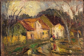 Artwork by Arturo Pacheco Altamirano, Village Road, Made of Oil on canvas