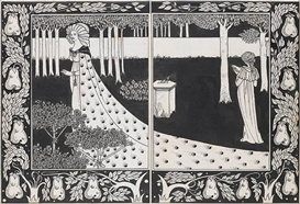 Artwork by Aubrey Beardsley, La belle Isould at joyous gard two drawings within one mount, Made of pen and black ink