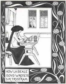Artwork by Aubrey Beardsley, How la Beale Isoud wrote to Sir Tristram, Made of pen and black ink