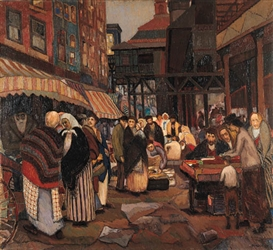 Artwork by Peter Krasnow, Market Scene, New York