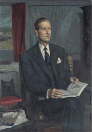 Artwork by Douglas Anderson, Portrait of Lord Tweedsmuir, reading in a study