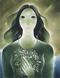 Artwork by Nguyen Trung, Woman and flowers